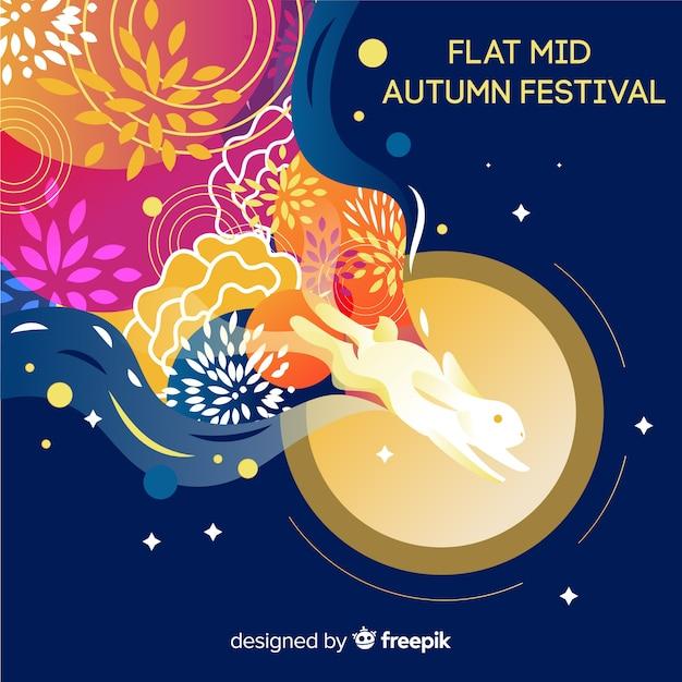 Achtergrondontwerp voor midden de herfstfestival Gratis Vector