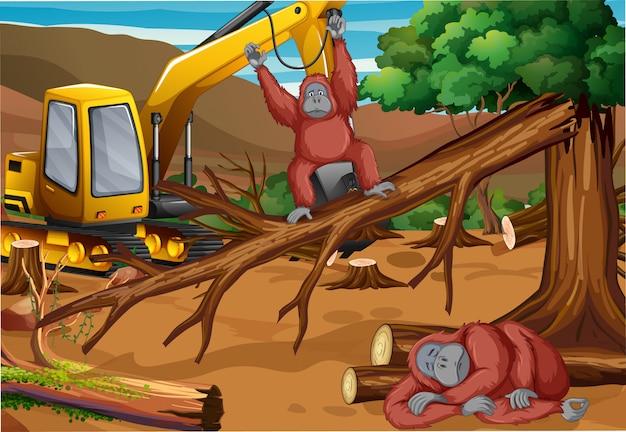Achtergrondscène met aap en ontbossing Gratis Vector