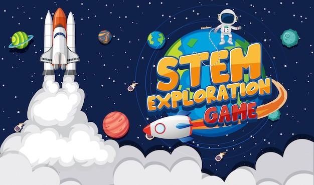 Achtergrondscène met astronaut en vele planeten in melkweg Premium Vector