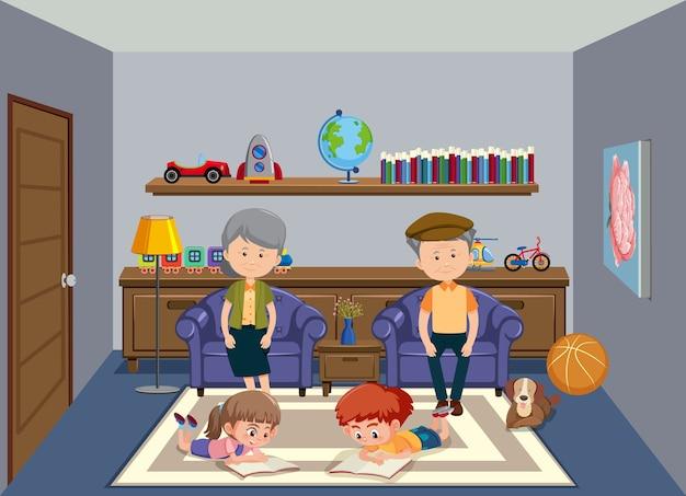 Achtergrondscène met oude grootouders en twee kinderen thuis Premium Vector