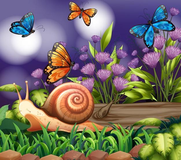 Achtergrondscène met vlinders in tuin Gratis Vector