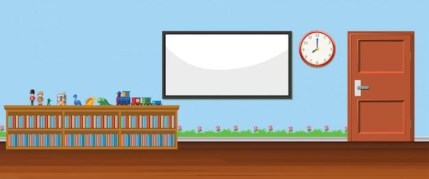 Achtergrondscène met whiteboard en speelgoed Gratis Vector