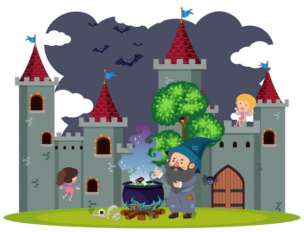 Achtergrondscène van tovenaar bij het kasteel Premium Vector