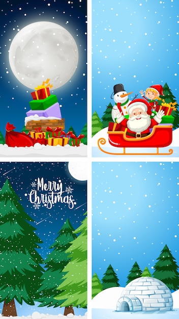 Achtergrondsjablonen met kerstthema Gratis Vector