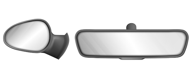 Achteruitkijkspiegels auto in zwart frame geïsoleerd op een witte achtergrond Gratis Vector