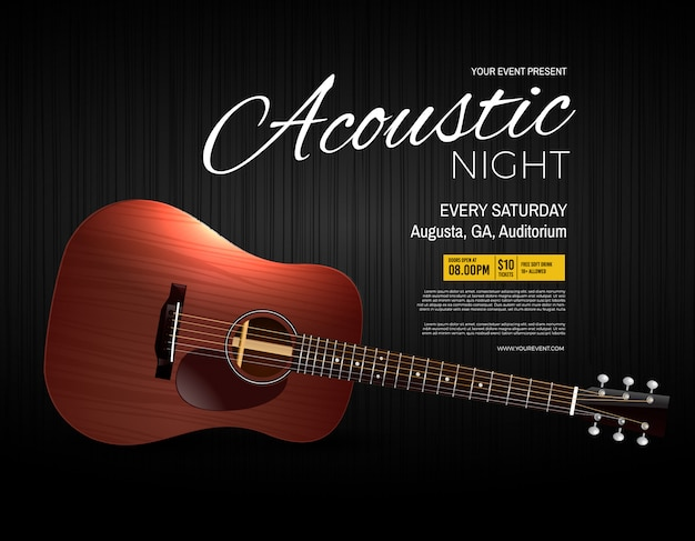 Acoustic night live performance-evenementposter Premium Vector