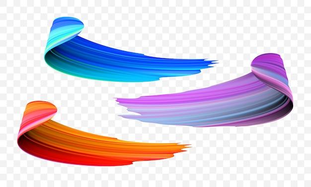 Acryl penseel kleur abstracte lijnen Premium Vector