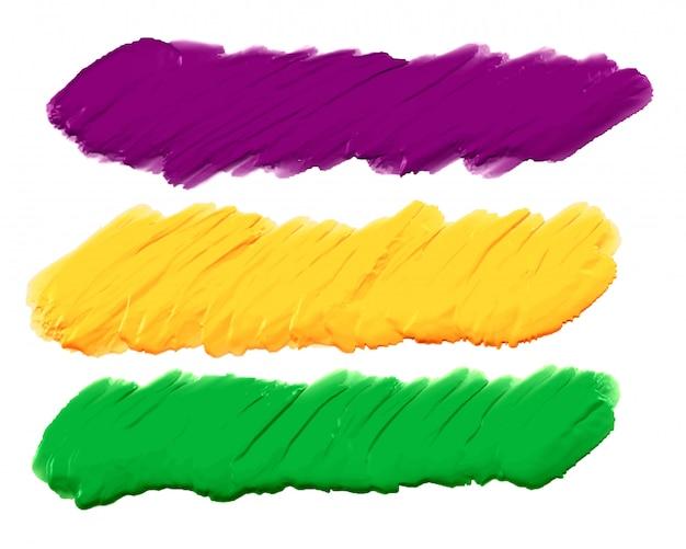 Acrylverf slagen banners set van drie Gratis Vector