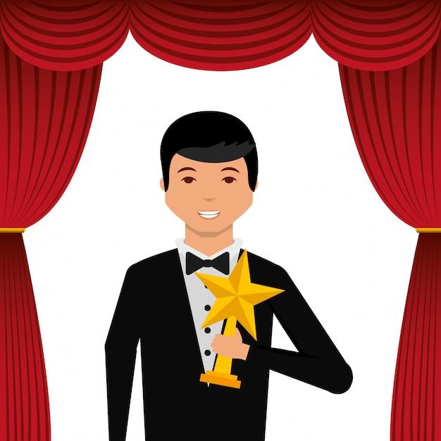 Acteur die smoking draagt die gouden stertoekenning houdt Premium Vector