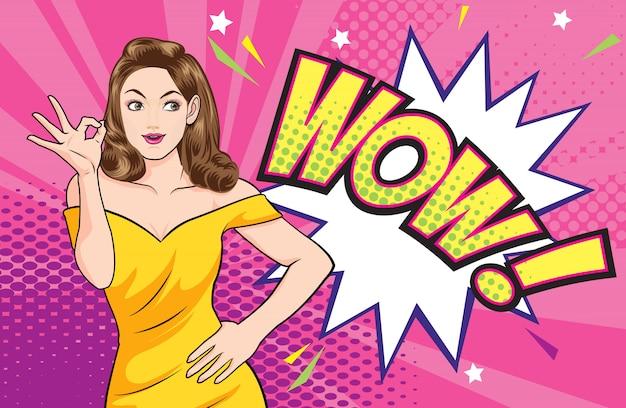 Actie van het vrouwen de ok gebaar met wauw grappige bel Premium Vector