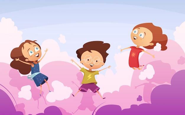 Actief gezelschap van speelse voorschoolse kinderen springen tegen hemel Gratis Vector