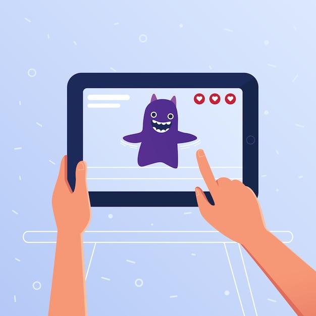 Actiegame met augmented reality op een tablet. Premium Vector