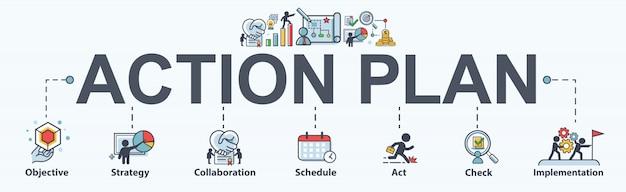 Actieplan banner web pictogram voor business en marketing. Premium Vector