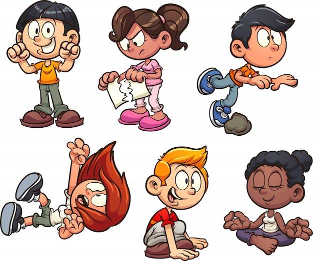 Acties voor kinderen Premium Vector