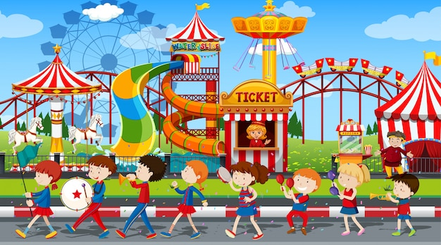 Actieve jongens en meisjes spelen buiten sport en leuke activiteiten Gratis Vector
