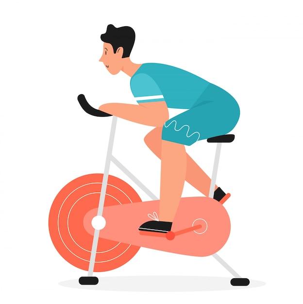 Actieve man rijdt op hometrainer fiets plat. fiets jong mannetje die spinnende sportactiviteiten, huisfitness doen gezond levensstijlconcept Premium Vector
