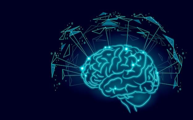 Actieve menselijke hersenen kunstmatige intelligentie volgende niveau man mentale vaardigheden Premium Vector