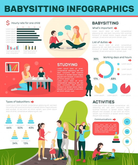 Actieve oppas flat infographics Gratis Vector
