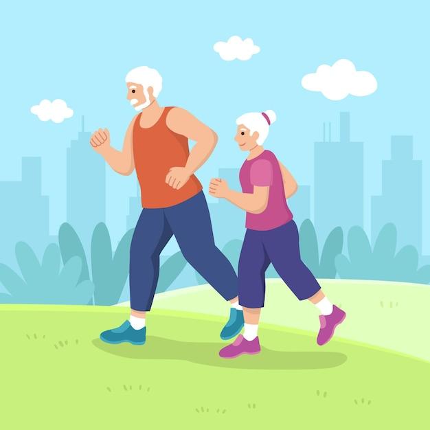 Actieve ouderen concept Gratis Vector
