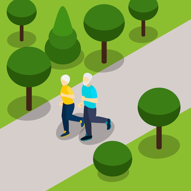 Actieve pensioen levensstijl isometrische banner Gratis Vector