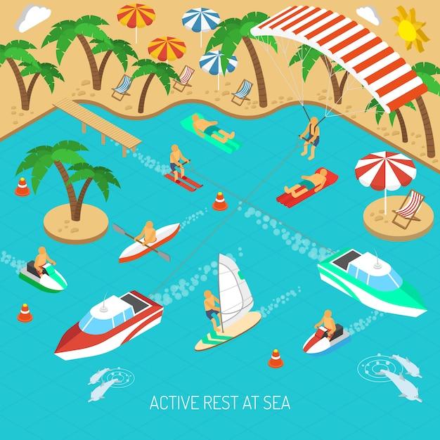 Actieve rust op zee concept Gratis Vector