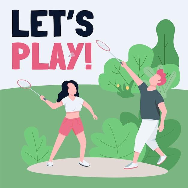 Actieve rust sociale media post mockup. laten we zin spelen. web banner ontwerpsjabloon. gezonde levensstijl, booster voor buitenspellen, inhoudslay-out met inscriptie. Premium Vector