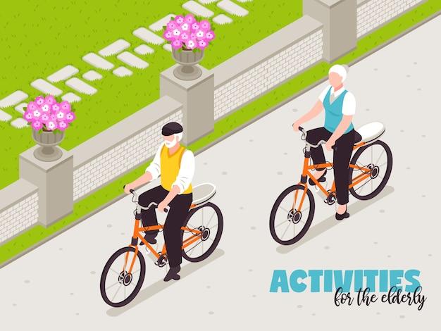 Actieve senior mensen illustratie met fietsen in de vrije tijd isometrische symbolen Gratis Vector