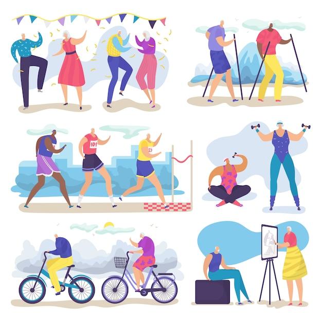 Actieve senior oude mensen illustratie set, cartoon groep ouderen tekens wandelen, rennen, dansen op wit Premium Vector
