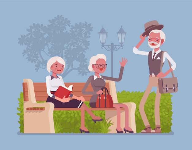 Actieve senioren in park. gepensioneerde ouderen genieten van een gezonde levensstijl en een positieve kijk op het leven, ontmoeten vrienden en ontspannen buiten, veilige sociale omgeving. stijl cartoon illustratie Premium Vector