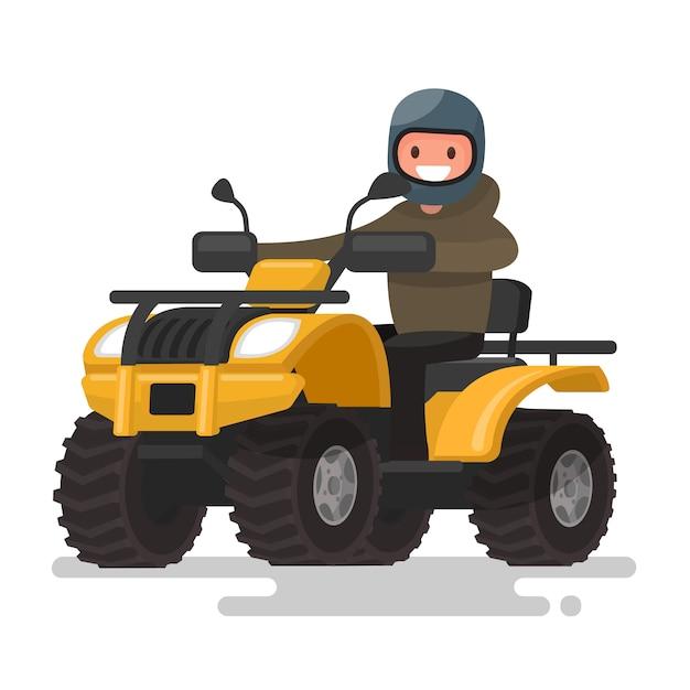 Actieve vakanties. quad rijden. man in een helm rijdt op een gele atv. illustratie Premium Vector