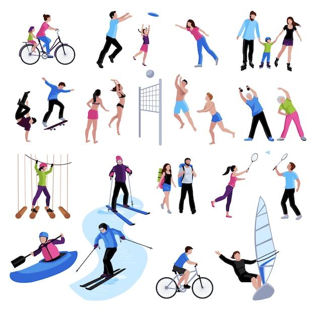 Actieve vrije tijd mensen icons set Gratis Vector