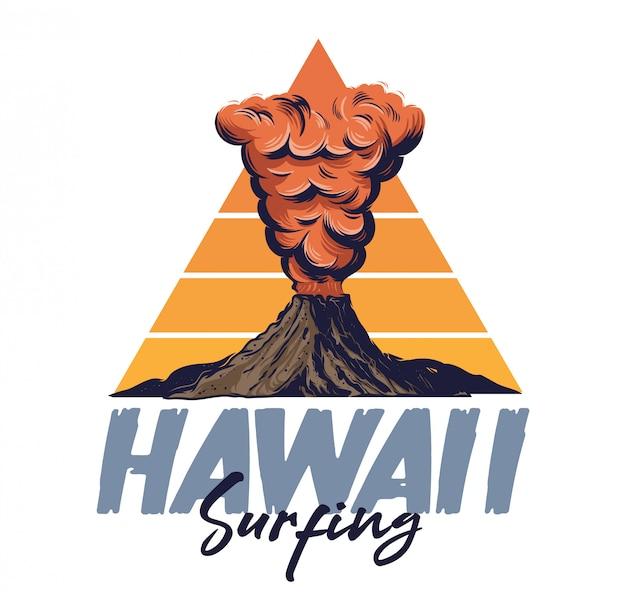 Actieve vulkaan met vuur hete lava dikke rode rook op berg. hawaii eiland surfen stijl illustratie Premium Vector