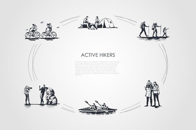 Actieve wandelaars illustratie Premium Vector