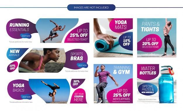 Activewear sale banners set Premium Vector