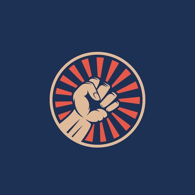 Activist rebellion fist symbol. abstracte rel embleem of logo sjabloon. hand met stralen in een cirkelsilhouet. Gratis Vector