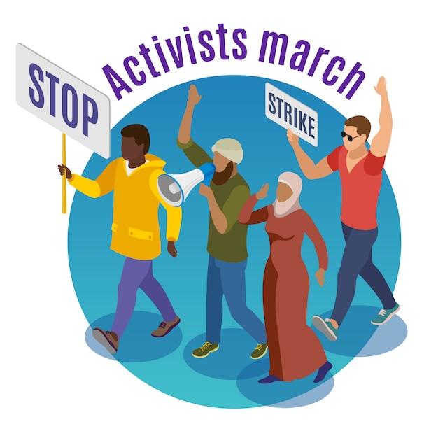 Activisten marcheren rond concept met een groep demonstranten met borden en isometrische megafoon Gratis Vector