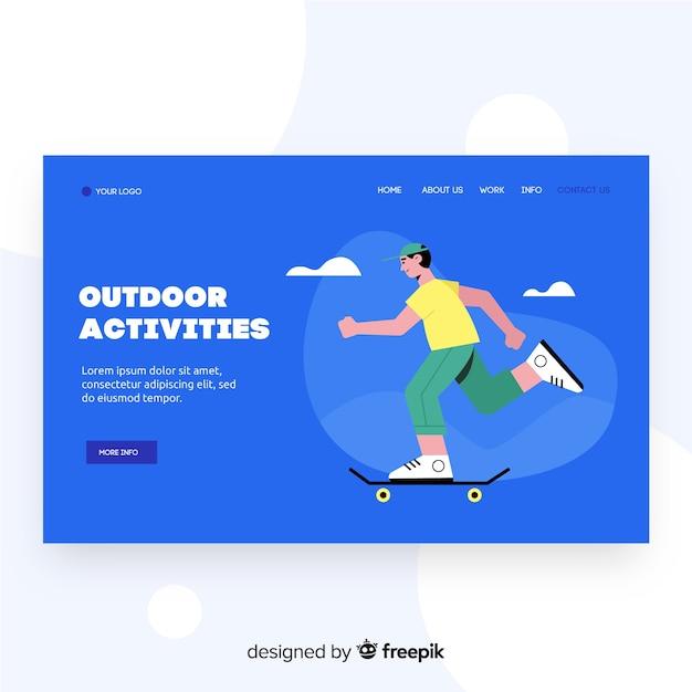Activiteitenpagina voor buitenactiviteiten Gratis Vector