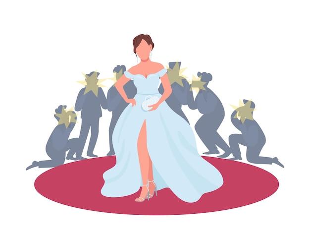 Actrice in kostuum op rode loper platte concept illustratie. filmpremière, festival. vrouw poseren voor paparazzi 2d stripfiguur voor webdesign. creatief idee van de entertainmentindustrie Premium Vector