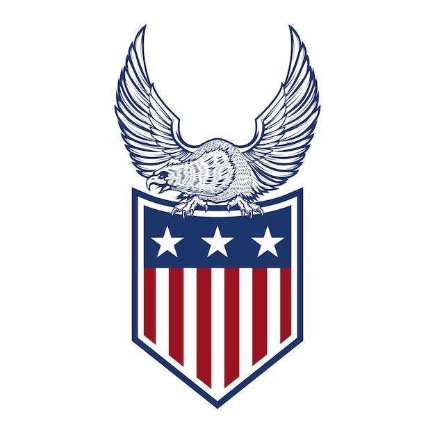 Adelaar op amerikaanse vlag. element voor logo, etiket, embleem, teken. beeld Premium Vector