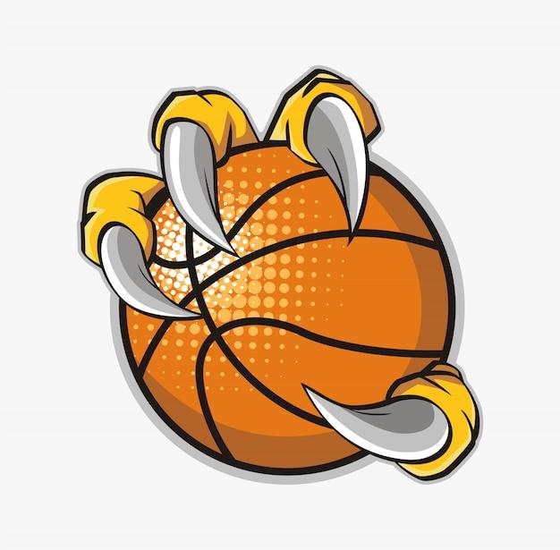 Adelaarsklauw die een basketbal houdt Premium Vector