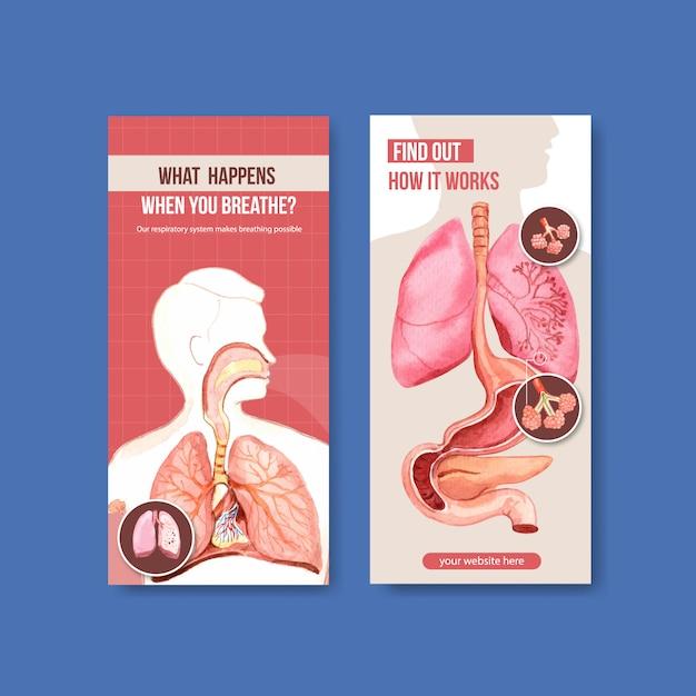 Ademhalingsflyerontwerp met menselijke anatomie van de longen en gezonde zorg Gratis Vector