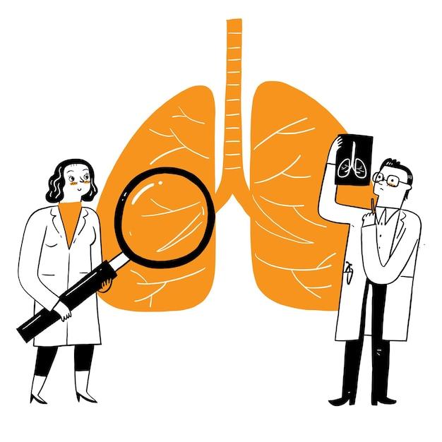 Ademhalingsgeneeskunde pulmonologie gezondheidszorgconcept. artsen controleren menselijke tuberculose of longontsteking met een vergrootglas, maken röntgenfoto's. medische longzorg. vector illustratie Gratis Vector