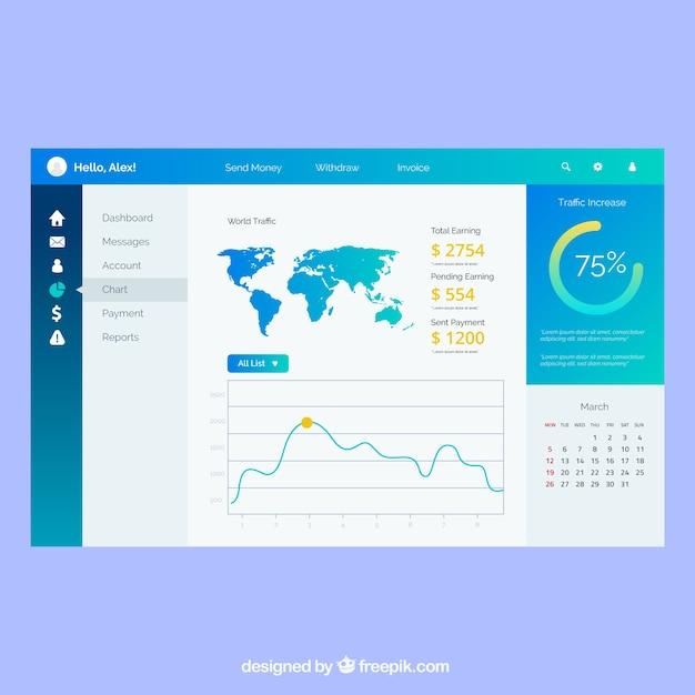 Admin dashboardpaneelsjabloon met plat ontwerp Gratis Vector