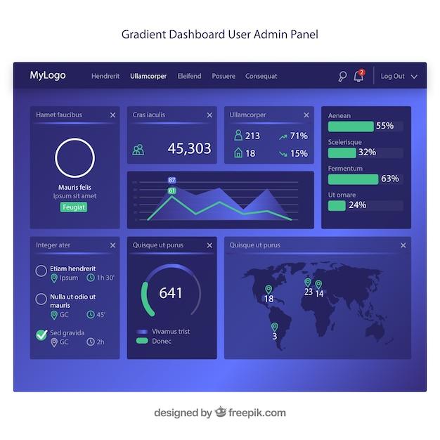 Admin dashboardsjabloon met plat ontwerp Gratis Vector