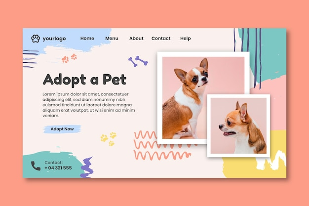 Adopteer een bestemmingspagina voor huisdieren met een hondenfoto Gratis Vector