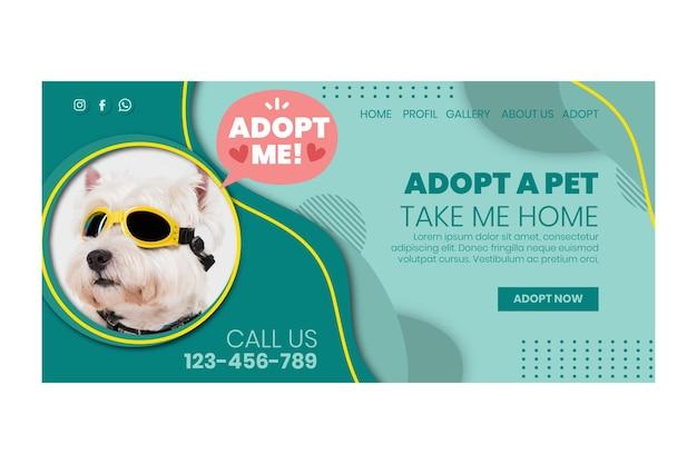 Adopteer een bestemmingspagina voor huisdieren Gratis Vector