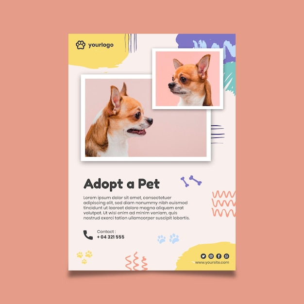Adopteer een dierenposter met schattige hondenfoto Gratis Vector