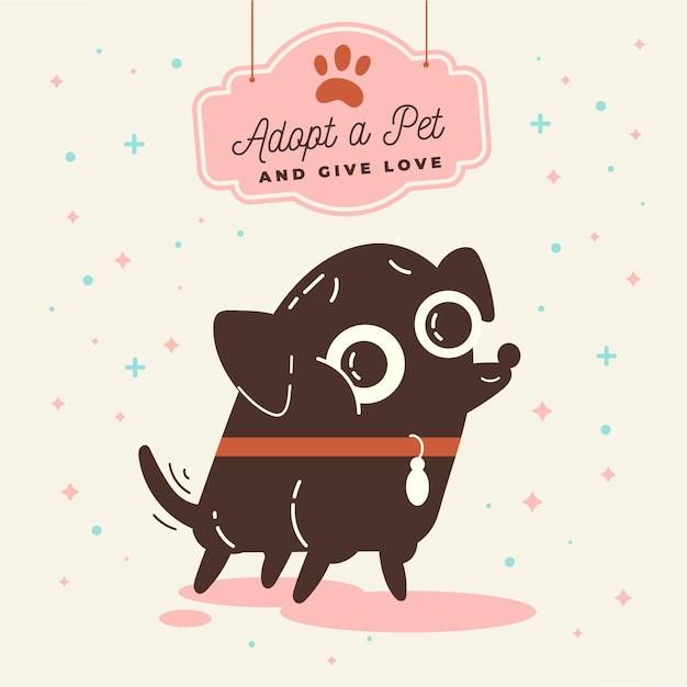 Adopteer een huisdier illustratie met hond Gratis Vector