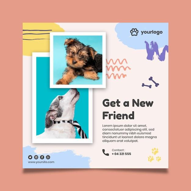 Adopteer een huisdier-kwadraat-flyer met hondenfoto's Gratis Vector