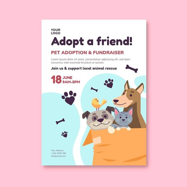 Adopteer een huisdier uit de sjabloon van een shelter-flyer Premium Vector